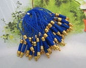 Cell Phone Strap Lanyard--50 pcs 75x5mm Blue Lariat Lanyard Mobile Cell Phone Strap Chains Connectors With Gold Metal Top
