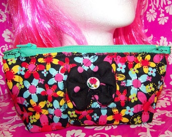 Pencil Pouch - Flowers - Small Zippered Bag - Multicolored