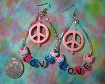 Peace and love pink, blue beaded earrings.