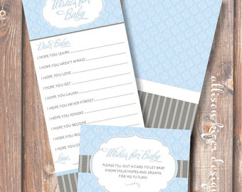 Printable Baby Shower Game Light Blue & Grey Classic Baby Boy Shower Baby Wishes - Florence Blue and Gray Wishes for Baby - INSTANT DOWLOAD