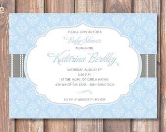 Elegant Light Blue Damask Baby Shower Invitation Sophisticated Classic Blue & Grey Bridal Shower Florence Blue and Gray Printable Invitation
