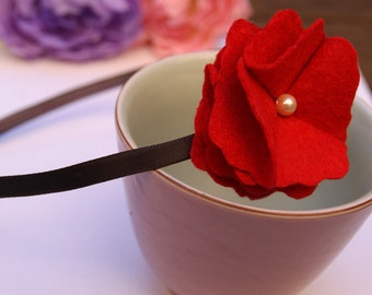 Red Felt Flower Headband, Scarlet and Pearl / felt flower headpiece