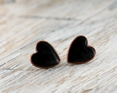 Post earrings - Black Hearts- made to order