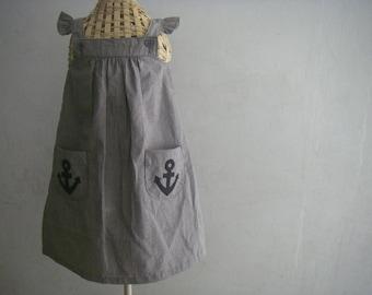 Handmade Gray Dress with Anchor Applique