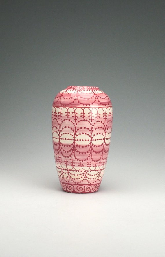 Floer Vase Pink, Ruby, Ivory Ornate Hand Painted Designs