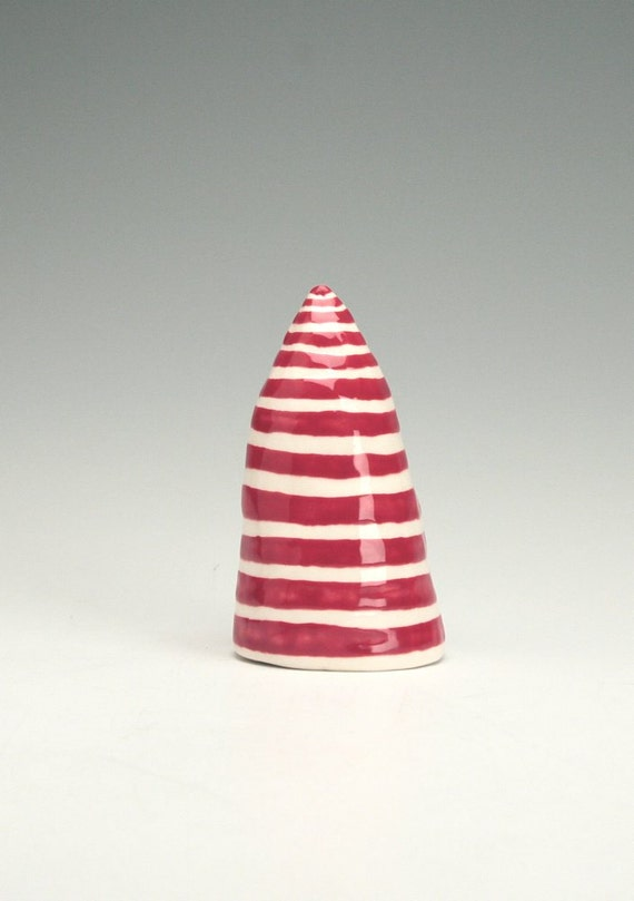 Miniature Tree Hand Built Coil Pottery Table Mantel Decoration Red  White Stripes