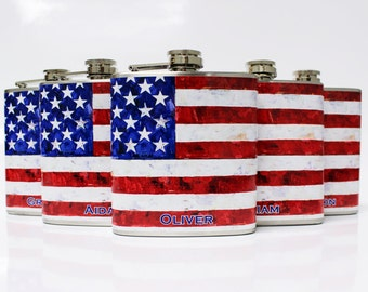 Groomsmen Gift USA Flag Flasks 5 Custom Wedding Bridal Favors Bachelor Party Mens Stainless Steel 6 oz Liquor Hip Flask LC-1005
