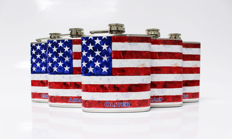 Wedding Gifts Usa: Groomsmen Gift USA Flag Flasks 5 Custom Wedding Bridal Favors