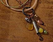 Boho cluster necklace: sea glass, shell, pearl, jade, copper, wire wrapped metal tube, suede, chain