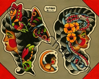 Lady Heads Original Tattoo Flash