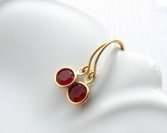 Birthstone earrings gold dangle earrings Swarovksi crystal birthday gift for women bridesmaids gift