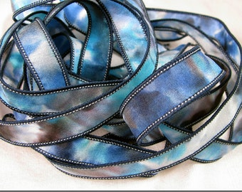 Silk Ribbon, Hand Dyed ribbon, Blue Ribbon, Hand Painted Silk Ribbon, Silk Wrist Wrap - Tidepool