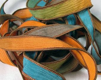 Hand Dyed Silk Ribbons - Crinkle Hand Painted Silk Jewelry Bracelet  - Quintessence - Santa Fe