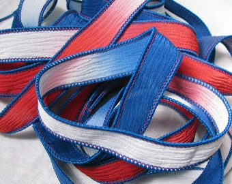 Hand Dyed Silk Ribbons - Crinkle Silk Jewelry Bracelet Fairy Ribbon - Quintessence - Red White and Blue