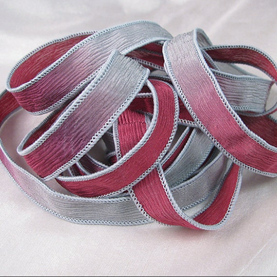 Hand Dyed Silk Ribbons Jewelry Bracelet - Wine and Grey Crinkle - Quintessence