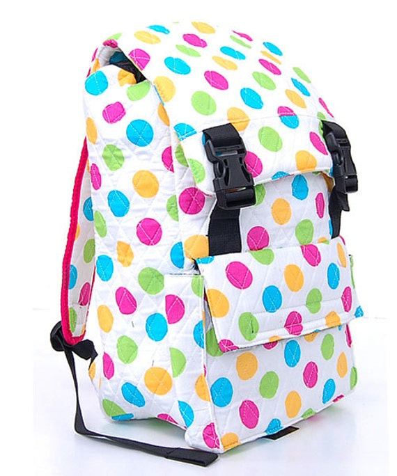 Quilted Polka dot Back pack Book Bag Personalized for FREE Great for school, road trips, beach