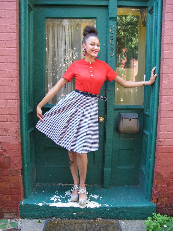 Dress 1970s Red White and Blue Full Skirt Houndstooth Plaid M