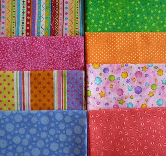 8 Assorted Bright and Fun Quilting Cotton Fabric Scraps..Fat Sixteenths-Set 2