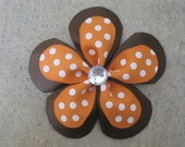 Brown with Orange & White dot double ribbon flower bow