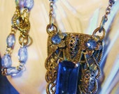 Moving Sale use code (15PERCENTOFF) Antique Bridal Necklace Art Deco Czech Filigree Blue Glass Dress Clip 1920's