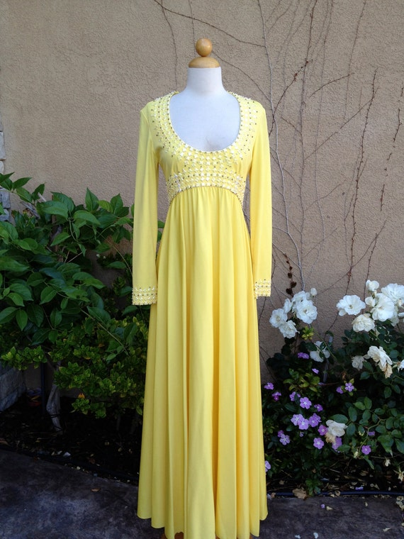 A vintage 1940s 1950s bright yellow sparkle beaded formal high waist cocktail party maxi dress size S M