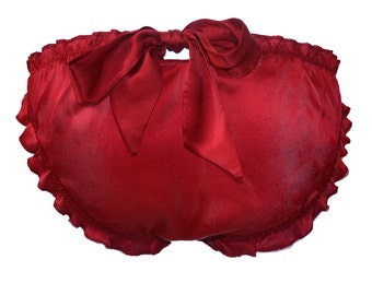 Red silk pantines, BELLE Rouge Red Silk Scrunchie Bow Knicker  - Valentines day gift