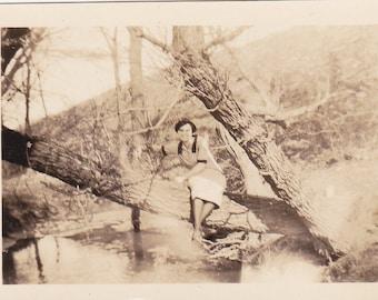 Vintage Photo - Lady Sitting on a Tree - Vintage Photograph - Vernacular - Found Photo (UU)