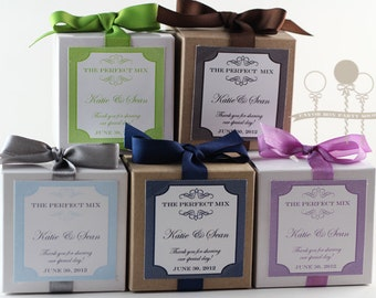 THE PERFECT MIX Cupcake Mix Party Favors for Weddings - Bridal Showers- in any color- Set of 12 Favors