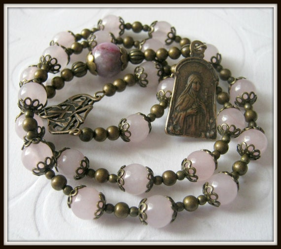 Bronze Chaplet of St. Therese, Little Flower Rosary in Pink Quartz
