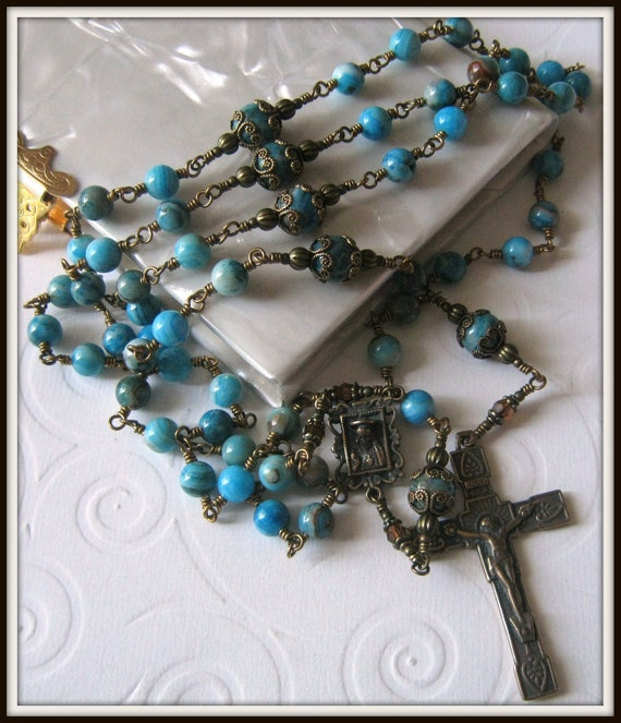 Bronze Catholic Rosary for Women in Blue Crazy Lace Agate, Wire Wrapped, Unbreakable