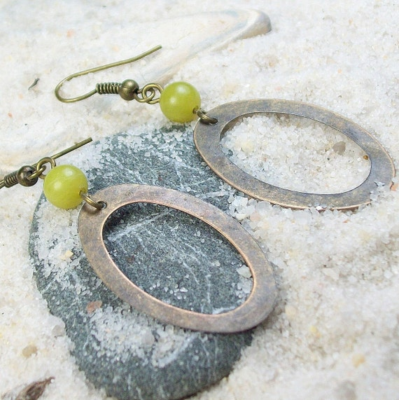 Leap of Faith Earrings - green stone - antique brass / gold hoop - clearance sale