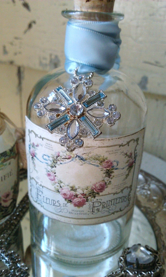 Rhinestone And Prism Embellished Repurposed French Apothecary Bottle