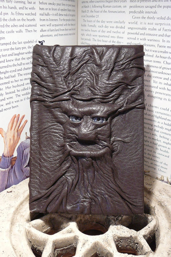 Tree-man leather journal with blue eyes