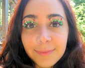 Lady Bug Fairy Garden Eyelash Jewelry - false eyelashes with miniature flowers, ladybugs