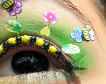 Bumble Bee Garden Eyelash Jewelry - false eyelashes with miniature flowers, bumblebees