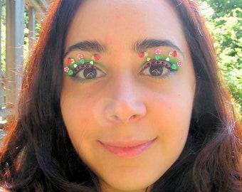 Lady Bug Fairy Garden Eyelash Jewelry - false eyelashes with miniature flowers, ladybugs