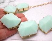 LARGE 5 cut gemstone tone pendant necklace/jade tone necklace/green gemstone tone necklace/beautiful/pretty/mint