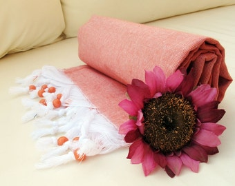 Cotton PESHTEMAL Towel Orange High Quality Cotton Turkish Bath Beach Spa Yoga Pool Towel