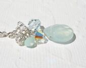Blue Crystal Dangle Earrings, Blue Teardrop Earring, Swarovski Crystal Earring, Silver Dangle Earring