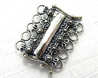 Sterling Silver 5 Strand Tube Clasp Sterling Silver Jewelry Supply Jewelry Findings Jewelry Clasp