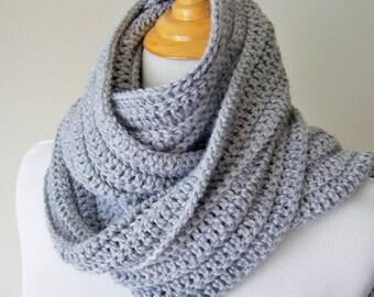 Crochet Scarf, Unisex Scarf, Extra-long Scarf, Grey Scarf, Urban Scarf, Hipster Scarf