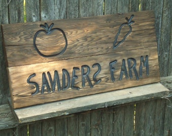 Custom Carved wood sign with vegetables Garder Farm from reclaimed wood - personalized - western cedar