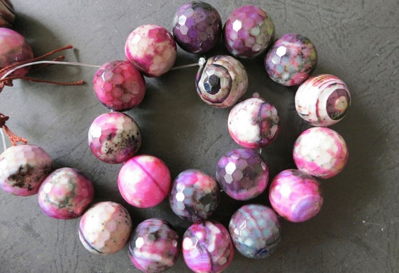 Purple Red Black Fire Crab Agate 20mm Faceted Big Round ball Beads-- 19pcs Full Strand