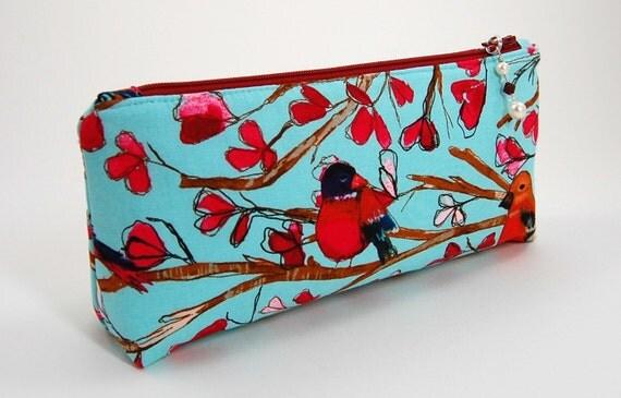 Makeup Cosmetic Bag Clutch in Aqua, Red Bird Design Bridesmaid Gift Idea