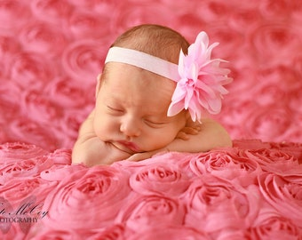 Baby headband, infant headband, newborn headband, pink flower headband, photo prop, pink chiffon flower on headband