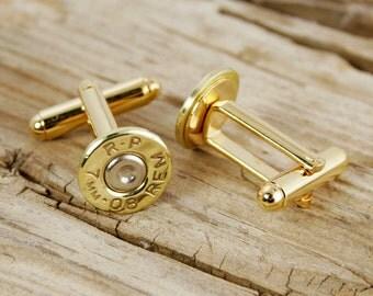 7mm-08 Bullet Cuff Links Wedding Cufflinks RP-7MM08-BN-CL
