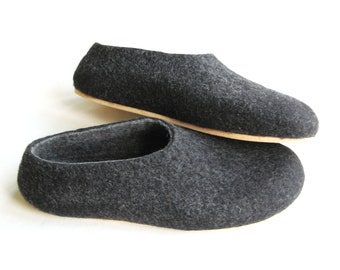 Charcoal Mens Slippers - Felted Wool Slippers - Minimalist Shoes - Mix and Match - Rubber Soles - Natural Shoes - House Shoes - Indoor Shoes