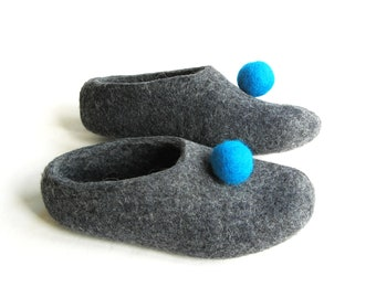 Womens Felted Slippers Circus Ping Pong, Wool Slippers Grey, Felt Shoes, House Shoes Valenki, Winter Warmer, Cold Feet, Christmas Gifts