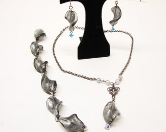 Glass Jewelry Set/ Dichroic Twist