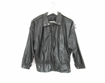 80's Leather Motorcycle jacket size - S/M